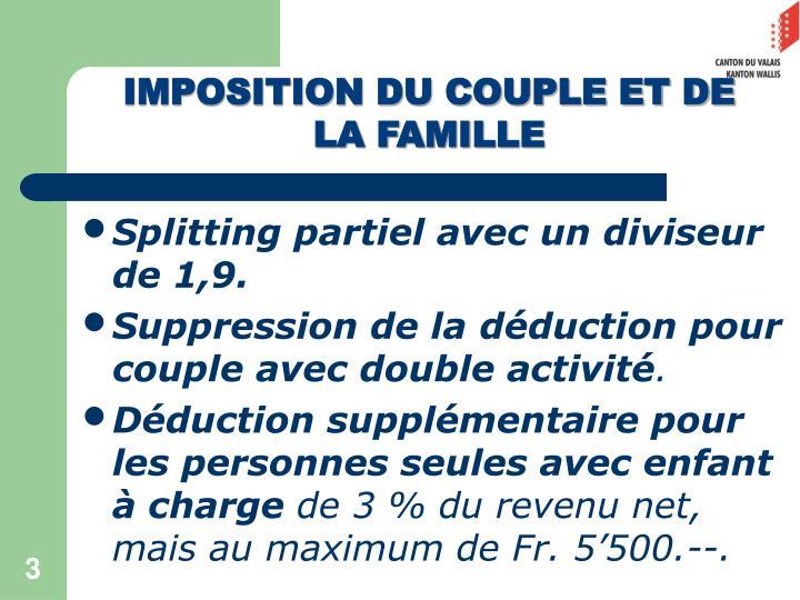 IMPOSITION DU COUPLE ET DE LA FAMILLE