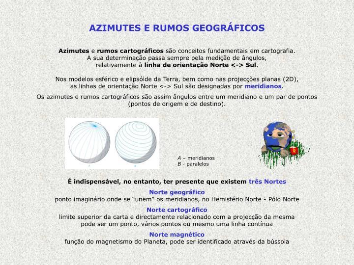 AZIMUTES E RUMOS GEOGRÁFICOS