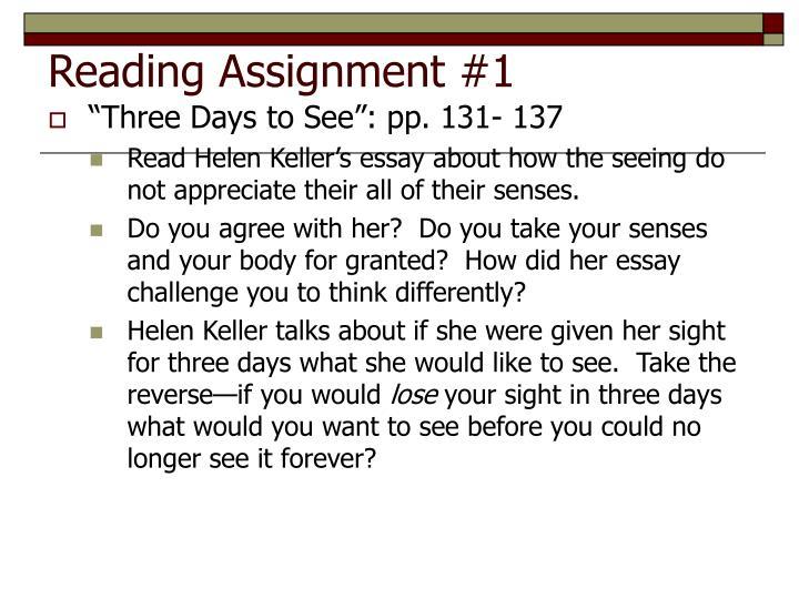 Helen keller three days to see essay