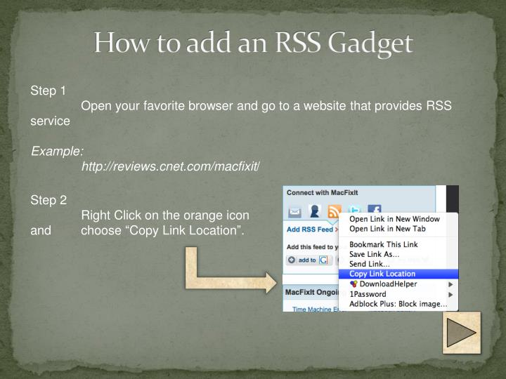 How to add an RSS Gadget