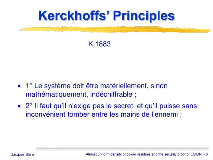 Kerckhoffs' Principles
