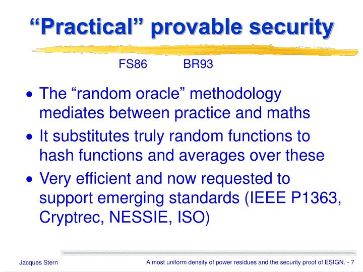 """Practical"" provable security"