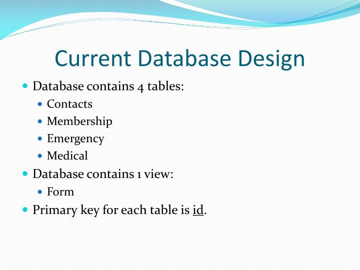 Current Database Design