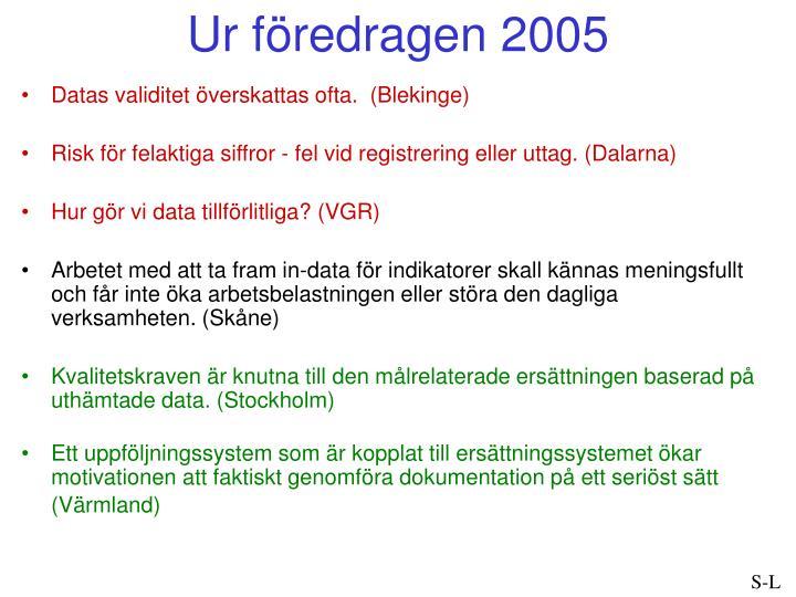 Ur föredragen 2005