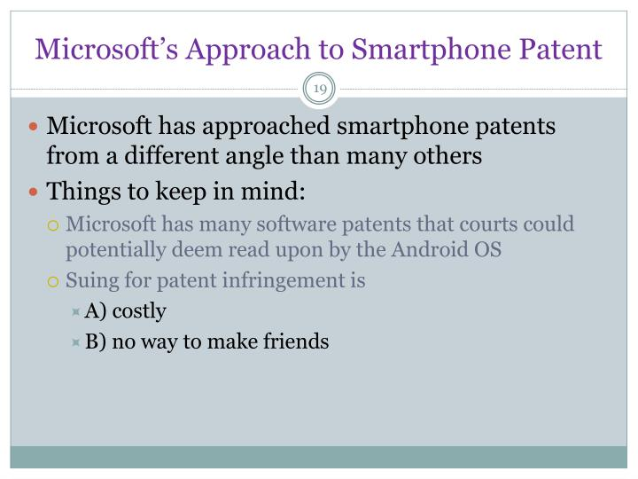 Microsoft's Approach to Smartphone Patent