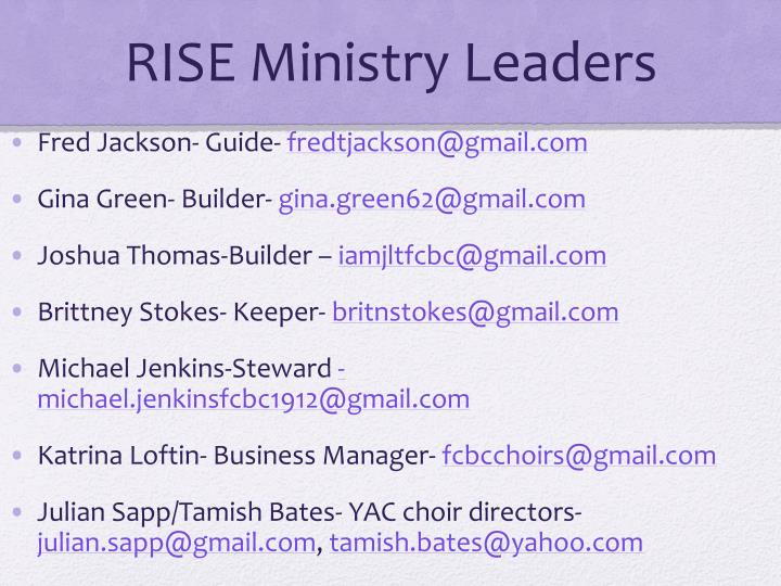 RISE Ministry Leaders