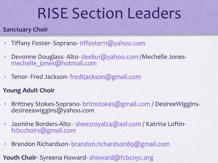 RISE Section Leaders