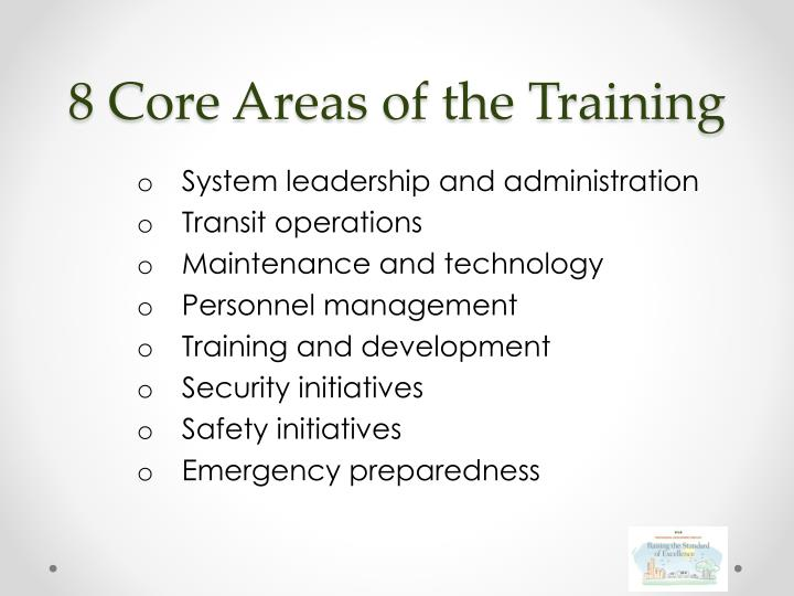 8 Core Areas of the Training