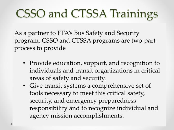 CSSO and CTSSA Trainings