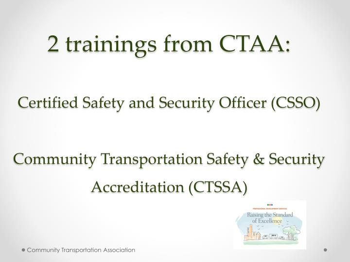2 trainings from CTAA: