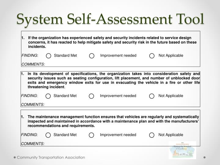System Self-Assessment Tool