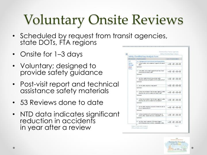 Voluntary Onsite Reviews