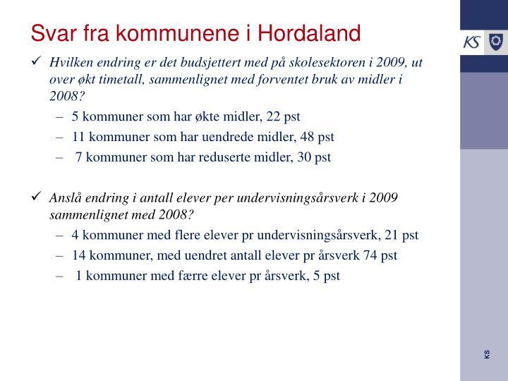 Svar fra kommunene i Hordaland