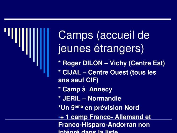 Camps (accueil de jeunes étrangers)