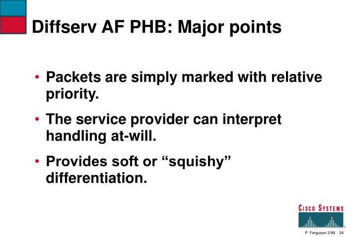 Diffserv AF PHB: Major points