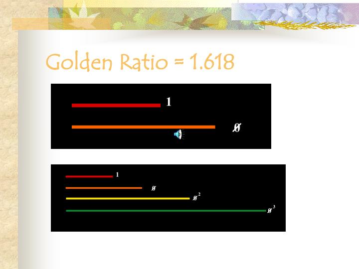 Golden Ratio = 1.618