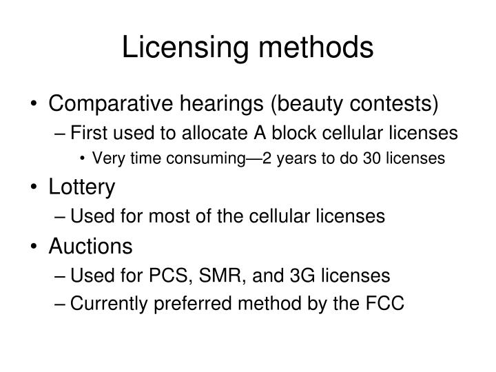 Licensing methods