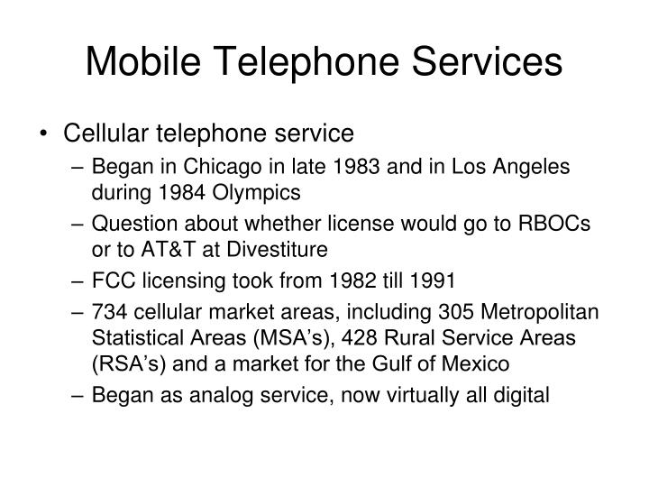 Mobile Telephone Services