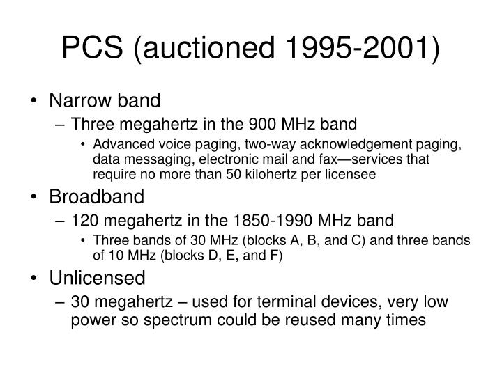 PCS (auctioned 1995-2001)
