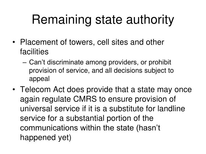 Remaining state authority
