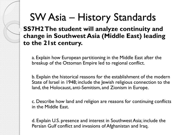 SW Asia – History Standards