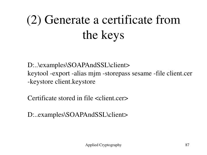 (2) Generate a certificate from the keys