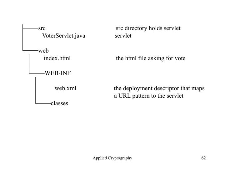 ├───src                                             src directory holds servlet