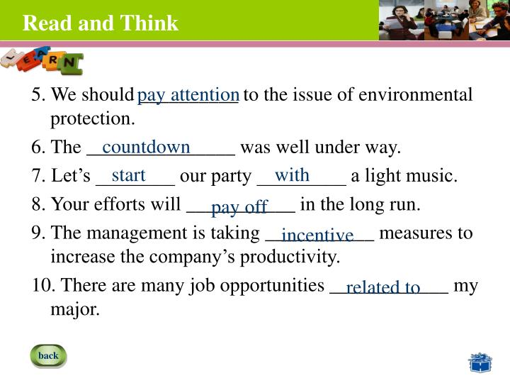 5. We should __________ to the issue of environmental protection.
