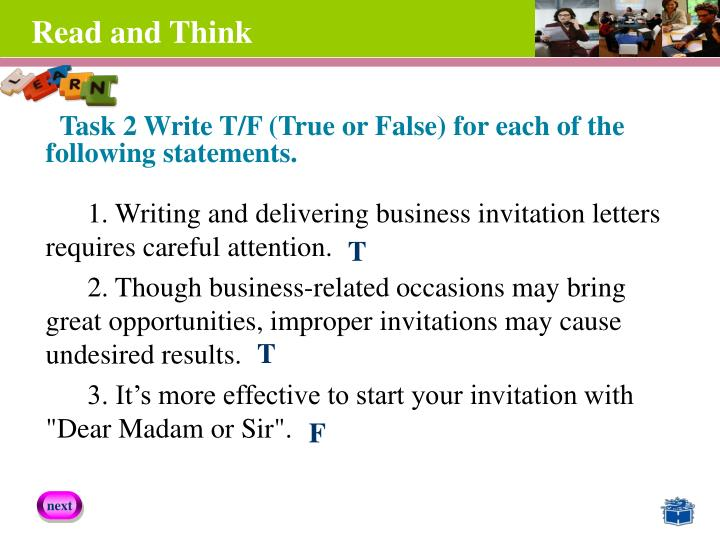 Task 2 Write T/F (True or False) for each of the
