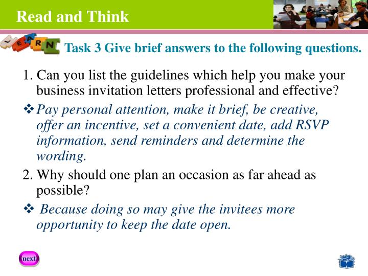 1. Can you list the guidelines which help you make your business invitation letters professional and effective?