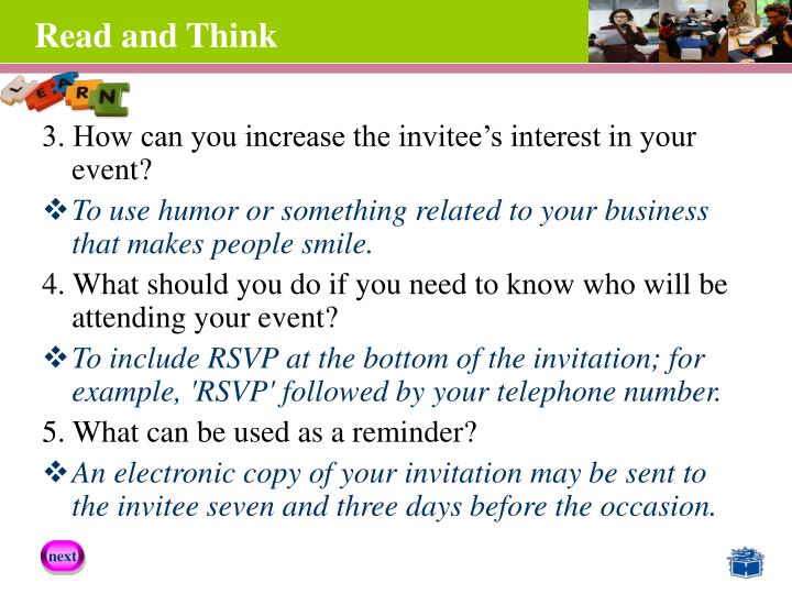 3. How can you increase the invitee's interest in your event?