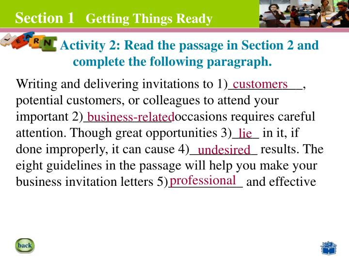 Activity 2: Read the passage in Section 2 and complete the following paragraph.