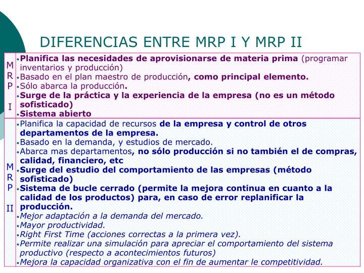 DIFERENCIAS ENTRE MRP I Y MRP II