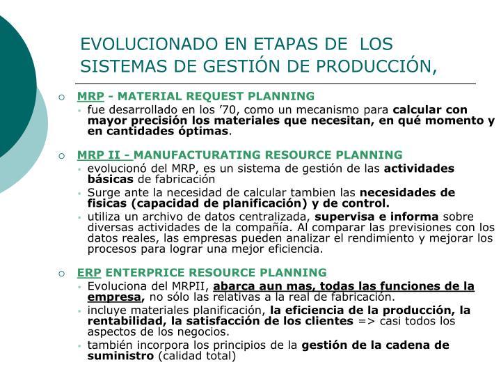 EVOLUCIONADO EN ETAPAS DE  LOS SISTEMAS DE GESTIÓN DE PRODUCCIÓN,