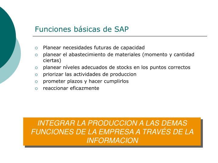 Funciones básicas de SAP
