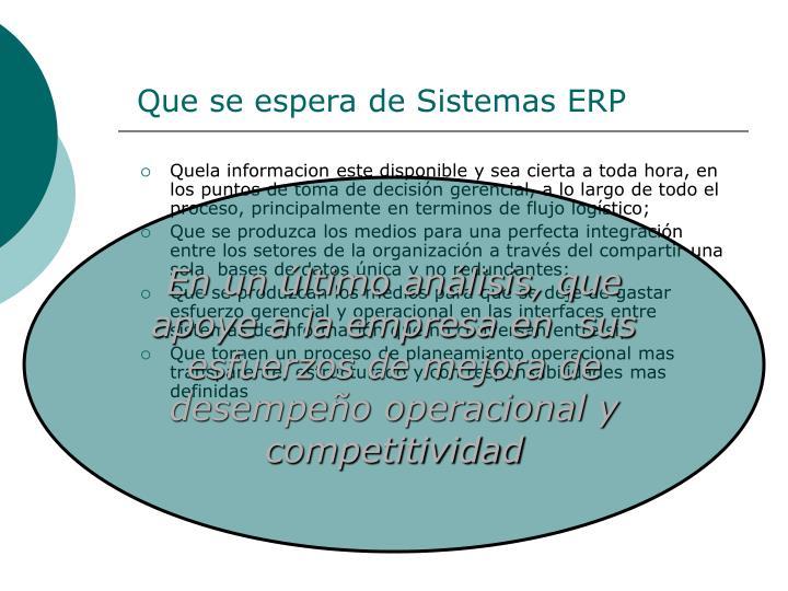 Que se espera de Sistemas ERP