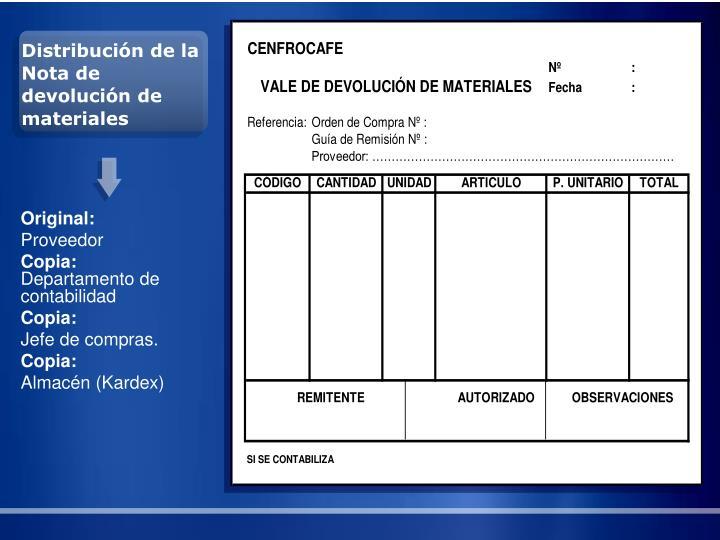 Distribución de la Nota de devolución de materiales