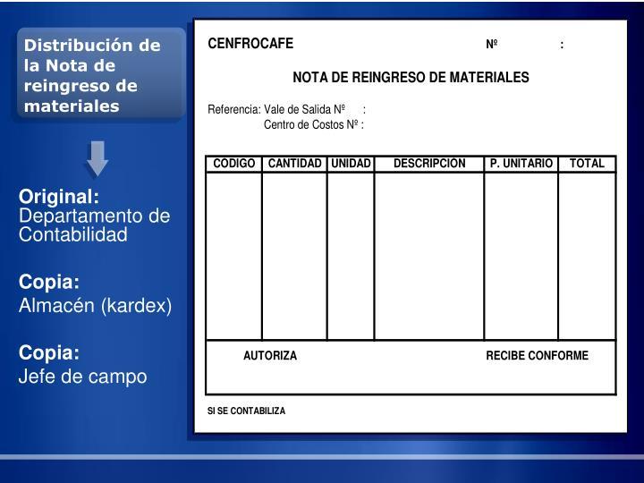 Distribución de la Nota de reingreso de materiales