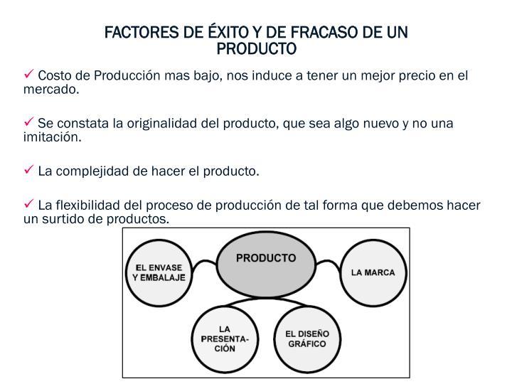 FACTORES DE ÉXITO Y DE FRACASO DE UN PRODUCTO
