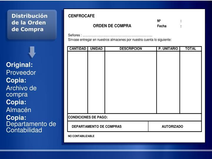 Distribución de la Orden de Compra