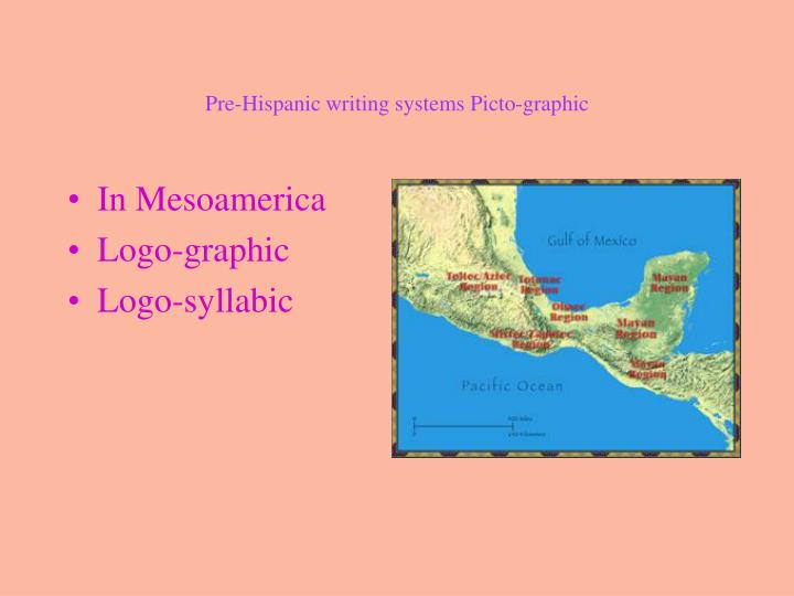 Pre-Hispanic writing systems Picto-graphic
