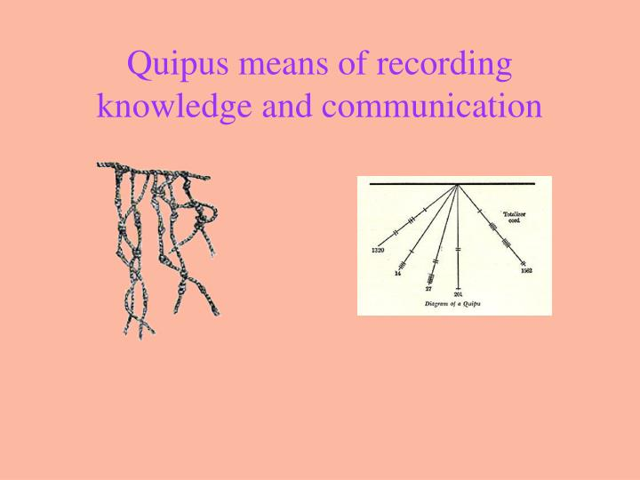 Quipus means of recording knowledge and communication