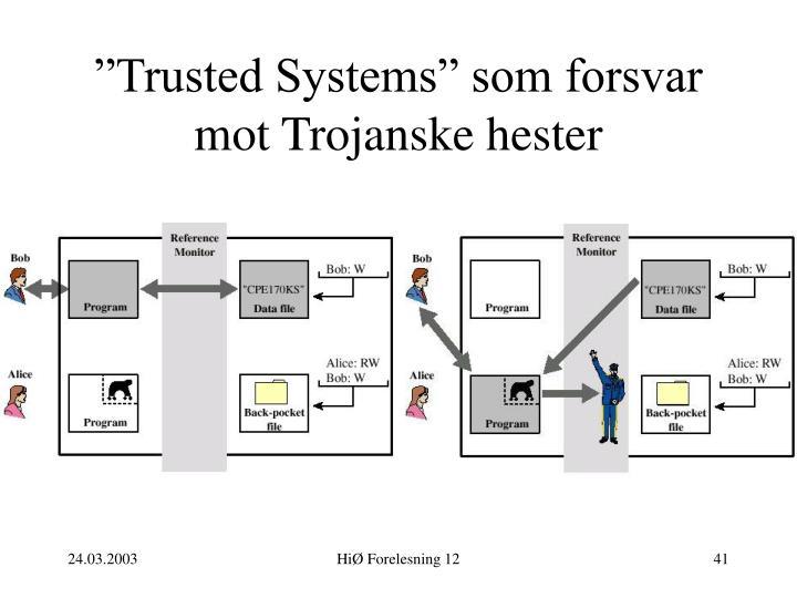 """""""Trusted Systems"""" som forsvar mot Trojanske hester"""