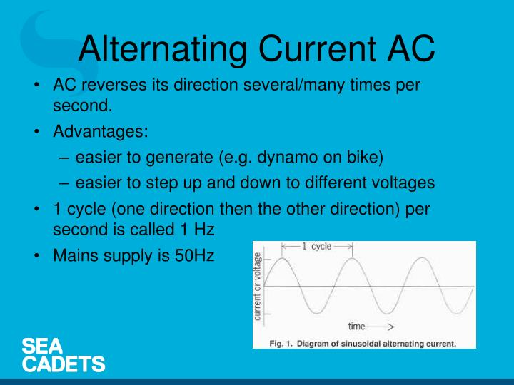 AC reverses its direction several/many times per second.
