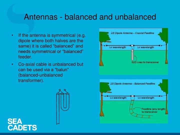 Antennas - balanced and unbalanced