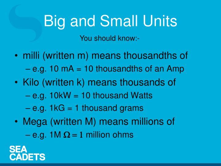 milli (written m) means thousandths of