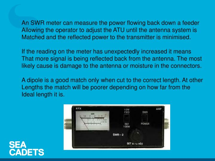 An SWR meter can measure the power flowing back down a feeder
