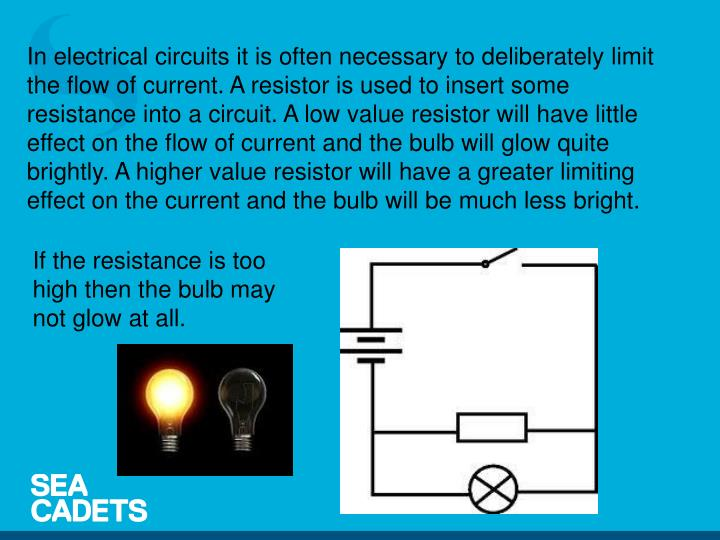 In electrical circuits it is often necessary to deliberately limit the flow of current. A resistor is used to insert some resistance into a circuit. A low value resistor will have little effect on the flow of current and the bulb will glow quite brightly. A higher value resistor will have a greater limiting effect on the current and the bulb will be much less bright.