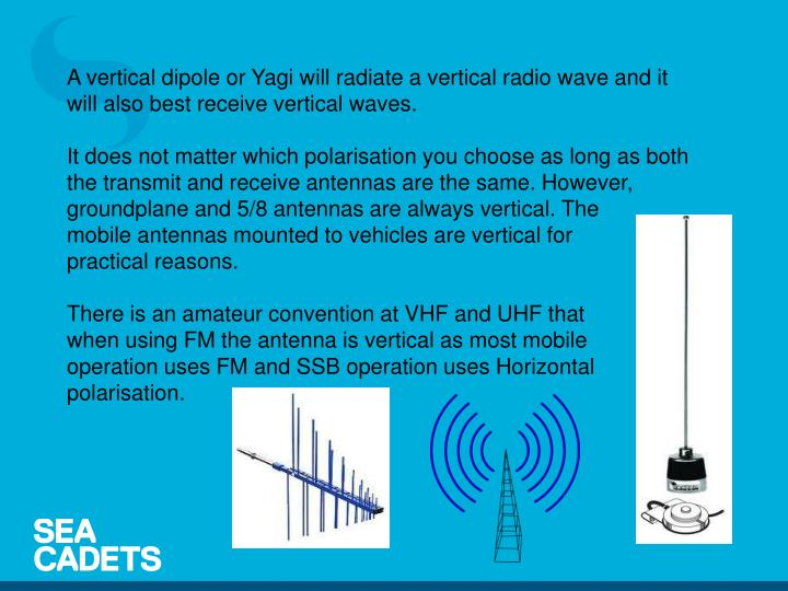 A vertical dipole or Yagi will radiate a vertical radio wave and it will also best receive vertical waves.