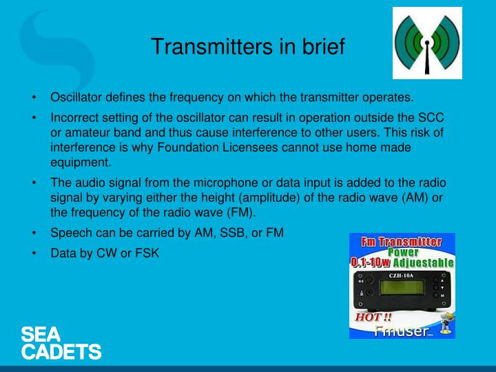 Transmitters in brief